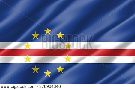 Silk Wavy Flag Of Cabo Verde Graphic. Wavy Cabo Verdean Flag 3d Illustration. Rippled Cabo Verde Cou