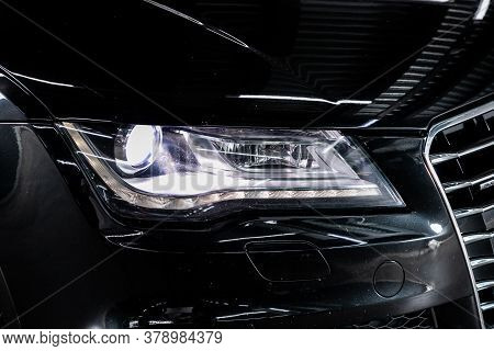 Novosibirsk/ Russia - July 27 2020: Audi A7, Detail Light Close Up Of On New Car. Exterior Detail .