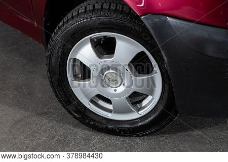 Novosibirsk/ Russia - July 27 2020: Daewoo Matiz, Car Wheel With Alloy Wheel And New Rubber On A Car