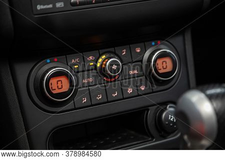 Novosibirsk/ Russia - July 18 2020: Nissan Qashgai, Vehicle Interior With Visible Climate Controls,