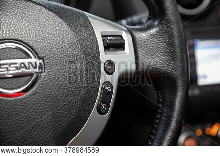 Novosibirsk/ Russia - July 18 2020: Nissan Qashgai, New Black Steering Wheel With Multifunction Butt