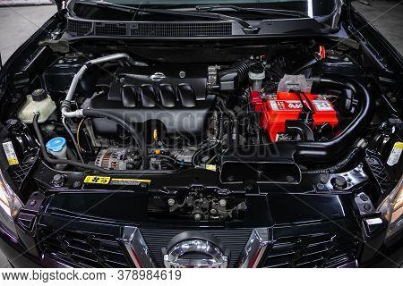 Novosibirsk/ Russia - July 18 2020: Nissan Qashgai, Closeup Of A Clean Motor Block, . Internal Combu