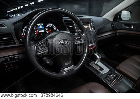 Novosibirsk/ Russia - July 18 2020: Subaru Outback, , Steering Wheel , Dashboard With Speedometer, T