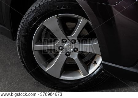 Novosibirsk/ Russia - July 18 2020: Subaru Outback, Car Wheel With Alloy Wheel And New Rubber On A C