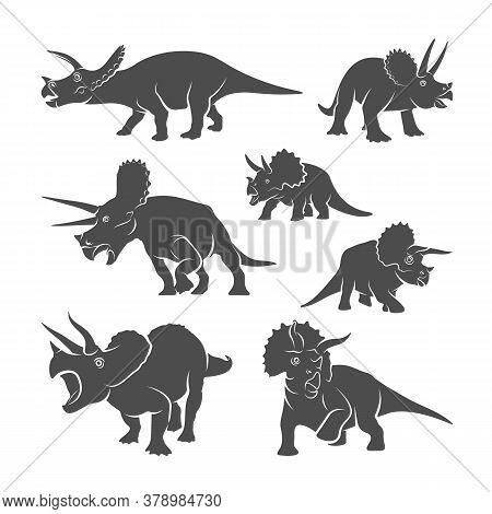 Set Of Triceratops Dinosaurs Logo Design Vector. Icon Symbol. Template Illustration