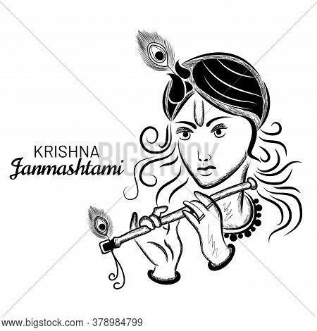 Hand Drawn Vector Illustration Portrait Sketch Of Lord Krishna. Happy Janmashtami.