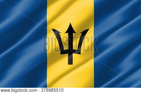 Silk Wavy Flag Of Barbados Graphic. Wavy Barbadian Flag 3d Illustration. Rippled Barbados Country Fl
