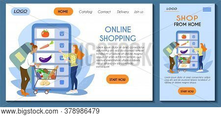 Web Page And Mobile App Template For Online Store. A Couple Makes Purchases With Shopping List Using