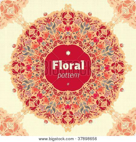 Ornamental round floral lace pattern. kaleidoscopic floral pattern mandala. poster