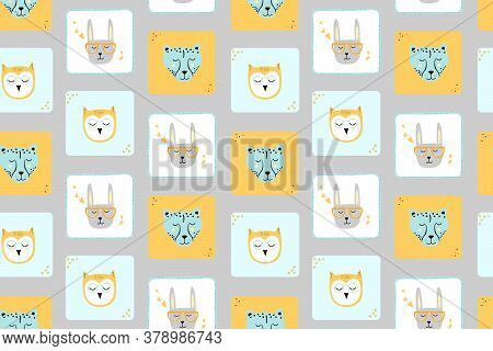 Seamless Childish Pattern With Funny Animals Faces . Creative Scandinavian Kids Texture For Fabric,