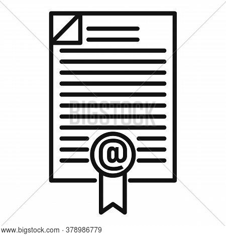 Online Loan Document Icon. Outline Online Loan Document Vector Icon For Web Design Isolated On White