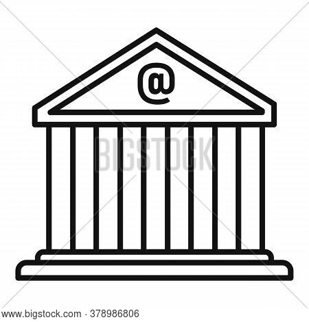 Loan Bank Building Icon. Outline Loan Bank Building Vector Icon For Web Design Isolated On White Bac