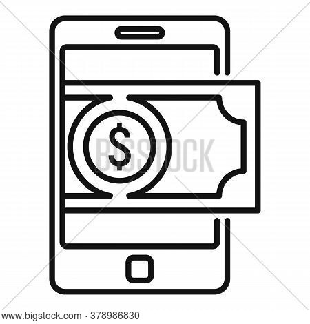 Cash Online Loan Icon. Outline Cash Online Loan Vector Icon For Web Design Isolated On White Backgro