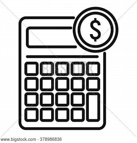 Online Loan Calculator Icon. Outline Online Loan Calculator Vector Icon For Web Design Isolated On W