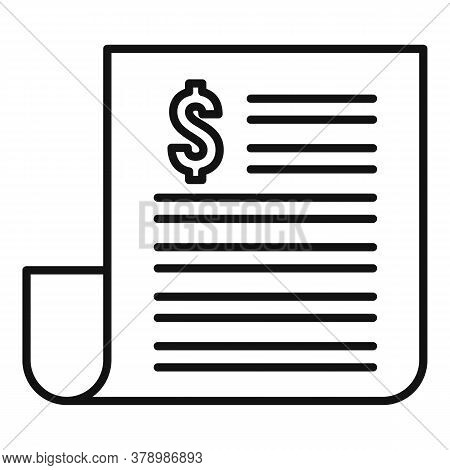 Paper Money Loan Icon. Outline Paper Money Loan Vector Icon For Web Design Isolated On White Backgro