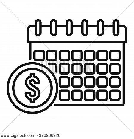 Online Loan Calendar Date Icon. Outline Online Loan Calendar Date Vector Icon For Web Design Isolate