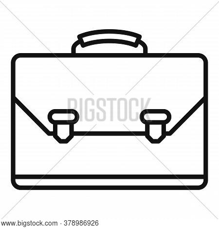 Leather Office Suitcase Icon. Outline Leather Office Suitcase Vector Icon For Web Design Isolated On