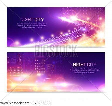Night City Lights Horizontal Banners Set With Editable Text And Glowing Building Windows With Speed