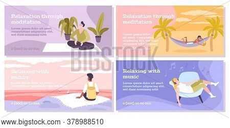 Relax Four Flat Banners Set Of People Relaxing With Music Nature Or Through Meditation Isolated Vect