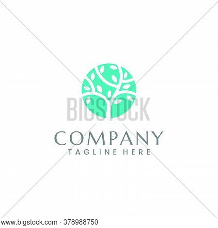 Negative Space Logo Of A Tree In A Aqua Colored Circle. Character: Calm, Relaxed, Modern, Timeless,