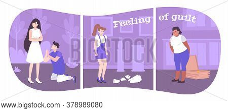 Feeling Of Guilt Flat Compositions Showing Emotions Of People In Different Situations Vector Illustr
