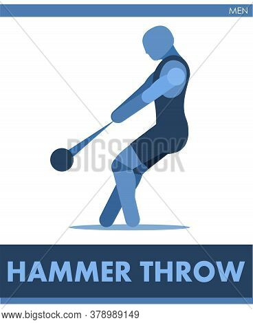 Hammer Throw Pictogram. Man Competes In Hammer Throwing. Icon Of Sportsman Track And Field. Men Or B