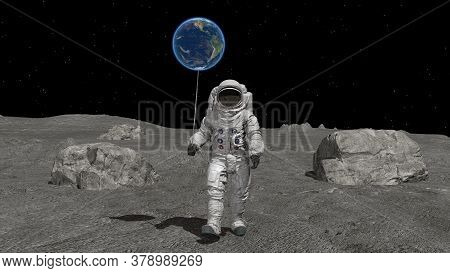 Atsronaut With A Ball In The Shape Of The Earth Is Walking On The Moon. Elements Of This Video Furni