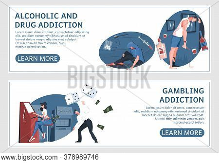 Set Of Two Addiction Horizontal Banners With Flat Human Characters Editable Text And Learn More Butt
