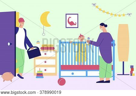 Babysitter For Working Parents Flat Composition With Nanny Baby In Cot Mother Leaving For Work Vecto