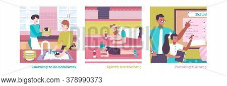 Parenting Flat Illustrations Set Of Day Planning Teaching To Do Homework Sports Training Vector Illu