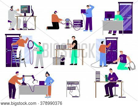 It Specialist Set Of Flat Isolated Icons Characters Of Programmers Technicians And Servers With Pers