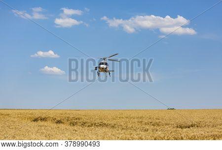 Vendeuvre-sur-barse, France - 6 July, 2017: Image Of A Helicopter Of France Television Broadcasting