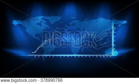 Abstract Background Of Blue Average Graph And World Map