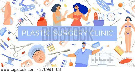 Plastic Surgery Clinic Advertising Signboard Against Flat Seamless Facelift Implants Treatments Pati