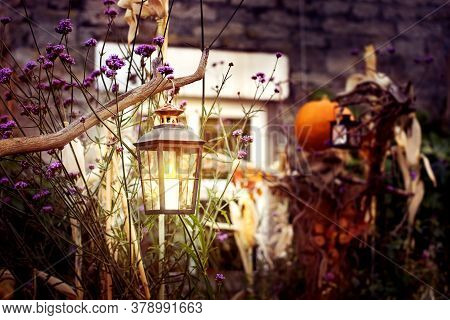 The House Is Decorated For Halloween In Countryside