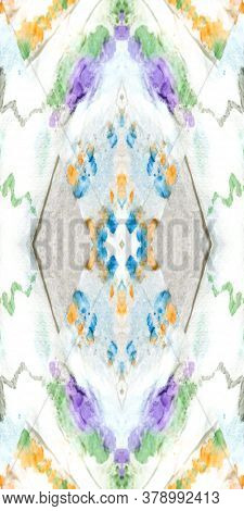 Shibori Flowers. Kilim Decoration. Tie-dye Pattern. Multicolor Ink Textile. Repeat Fabric. Seamless
