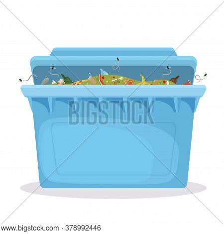 Waste Container, Dumpster In Blue Color. Trash Can Ajar. Rubbish Bin Full Of Garbage.