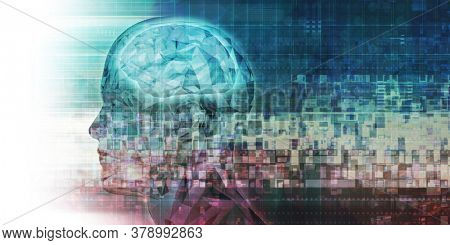 Brain Technology Advanced Science Concept Abstract Background 3d Render