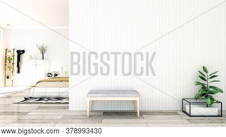 Nordic Style Bedroom Interior With Large Empty Wall And Copy Space, 3d Rendering