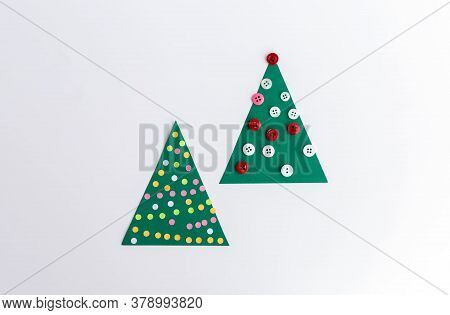 Two Paper Christmas Tree Crafts, Tov View, Easy Geometric Triangular Paper Craft