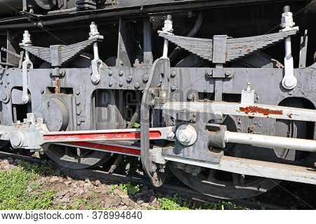Part Of An Old Locomotive In Outdoor