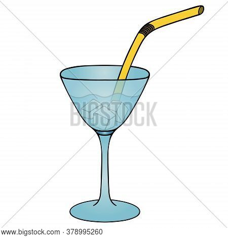 Martini With Ice Cubes. Refreshing Cocktail. Colored Vector Illustration. Isolated White Background.