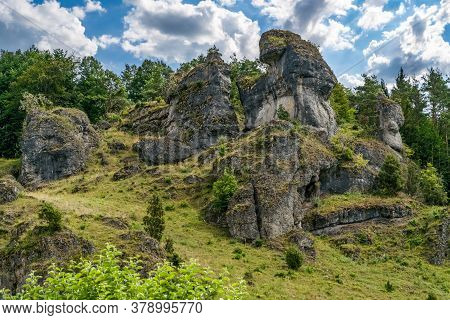 Rock Formation Of Franconian Switzerland On Sunny Summer Day