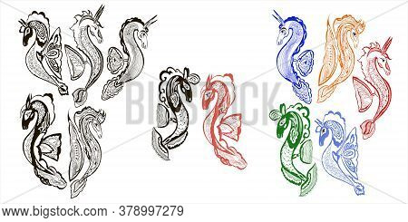 Fabulous Dragon Seahorses Vector Set. Six Images Monochrome And Color Version Isolated On A White Ba