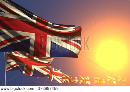 Beautiful Many United Kingdom (uk) Flags On Sunset Placed Diagonal With Bokeh And Place For Text - A