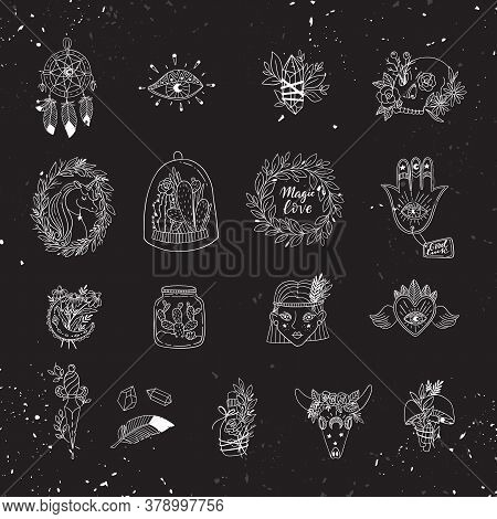Patch Set Of Magic And Witchcraft. Wild Magic Style Design.