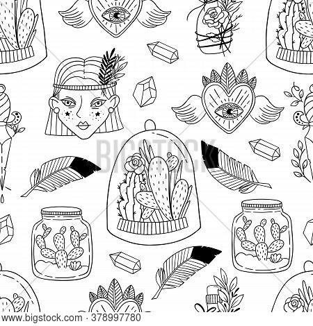 Seamless Pattern With Magic And Witchcraft Elements