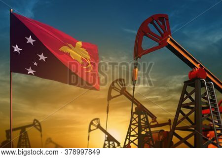Papua New Guinea Oil Industry Concept, Industrial Illustration. Fluttering Papua New Guinea Flag And
