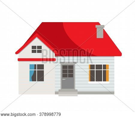 Small Suburban, Country Light Residential House With Red Roof, Stairs Stepping To Entrance Door, Win