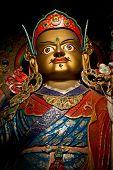 Statue of Buddhist guru Padmasambhava (Rinpoche) in Tibetan Monastery. India Ladakh Hemis Monastery poster